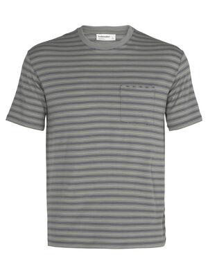 美丽诺羊毛150短袖圆领条纹T恤(带口袋)