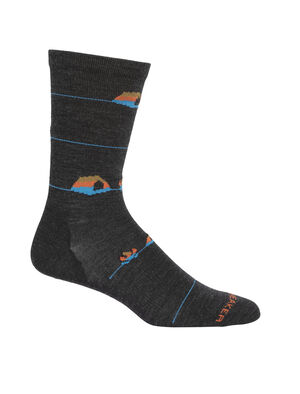 Mens Merino Lifestyle Ultralight Crew Socks Backcountry Camp Ultra-lightweight, soft, and breathable for everyday comfort, the Lifestyle Ultralight Crew Backcountry Camp socks are made with a stretchy and luxurious merino wool blend, with reinforced heels and toes.