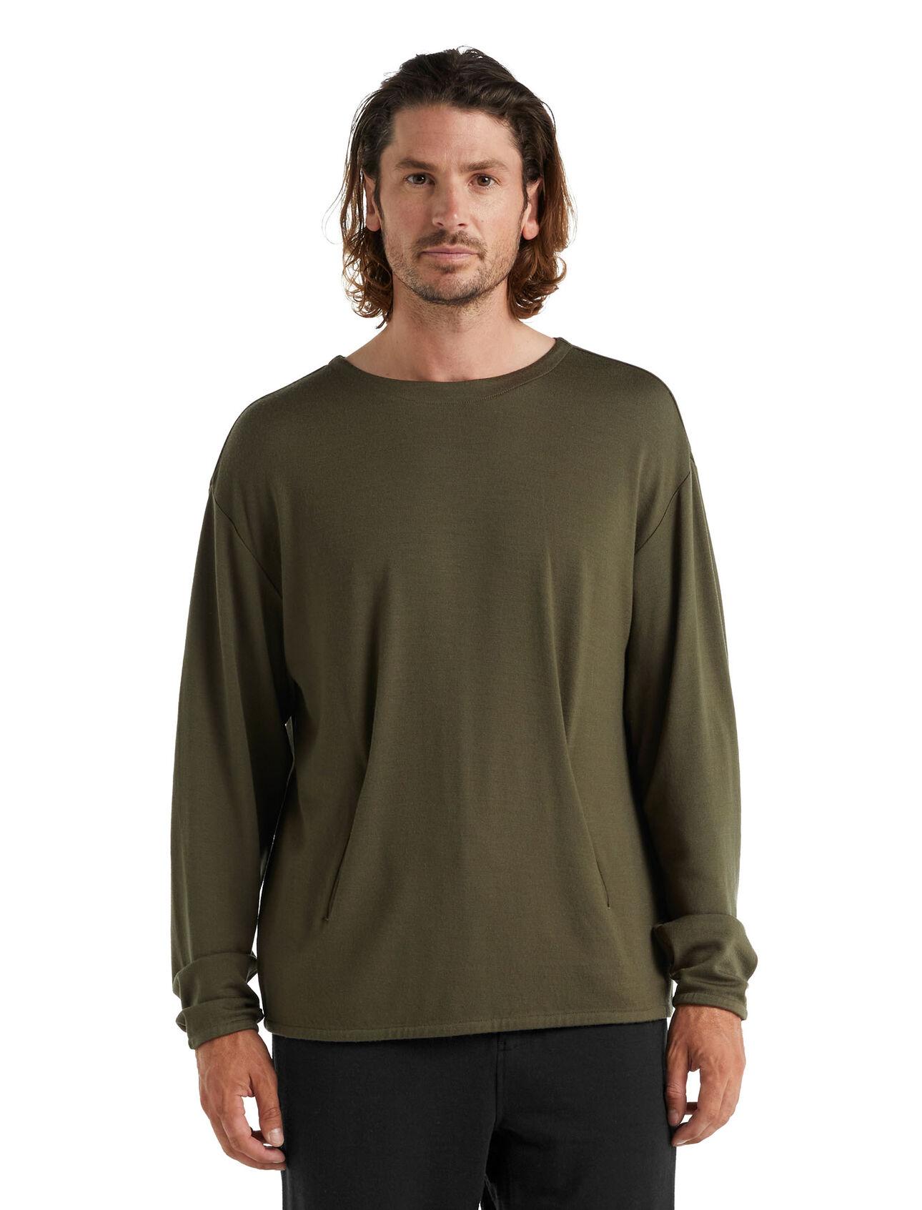 T-shirt manches longues col rond poche kangourou mérinos Deice