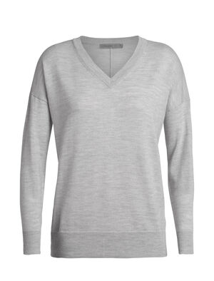 Womens Merino Shearer V Neck Sweater A sleek, stylish, and super-comfortable women's merino wool sweater made with super-fine knit merino, the Shearer V Sweater is designed for daily comfort.