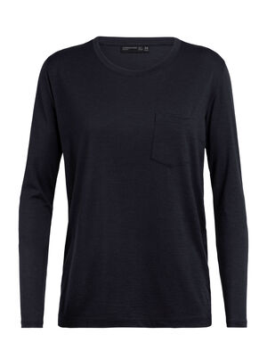 Womens Merino Tech Lite Long Sleeve Pocket Crewe T-Shirt  A relaxed-fit tee ideal for everyday living, the Tech Lite Long Sleeve Pocket Crewe features our soft and durable merino jersey corespun fabric.
