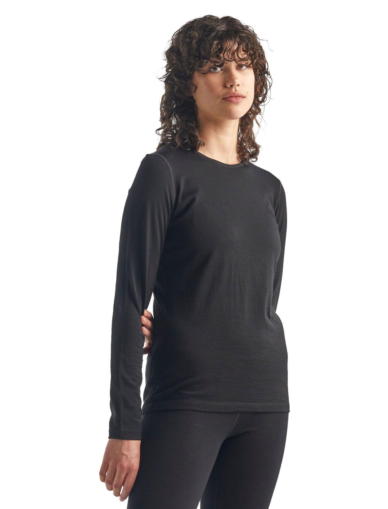 ICEBREAKER Femme 200 Oasis Manche Longue Crewe Cou couche de base-Noir