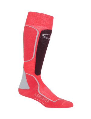 Womens Ski+ Medium Over The Calf Fully cushioned women's ski socks for skiing the resort or the backcountry, the Ski+ Medium Over the Calf socks are made with a durable, breathable merino wool blend.