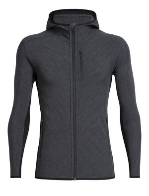 Mens RealFleece® Merino Descender Long Sleeve Zip Hood Jacket A technical hooded mid layer for cold, aerobic days outside, the Descender Long Sleeve Zip Hood features our merino wool RealFLEECE® for premium warmth and breathability.