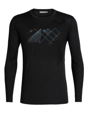 Mens Tech Lite Long Sleeve Crewe Geo Mountain Our most versatile tech tee, in breathable, odour-resistant merino wool. Artist William Carden-Horton creates a simple abstract view of Mt Cook National Park in New Zealand's Southern Alps.