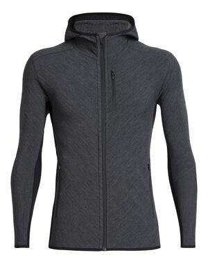 Mens RealFLEECE® Descender Long Sleeve Zip Hood A technical men's merino wool fleece hooded sweatshirt, the Descender Long Sleeve Zip Hood is designed for cold, aerobic days outside.