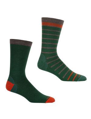 美丽诺羊毛休闲系列细针中筒袜2双装