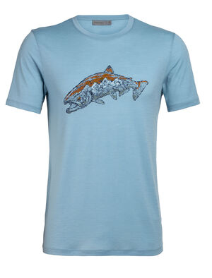 Mens Tech Lite Short Sleeve Crewe Tetons Salmon Our most versatile tech tee, in breathable, odour-resistant merino wool. Artist Scott Elser explores the cycle of life and rebirth on two scales: a salmon and the Grand Teton National Park.