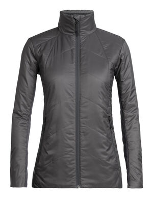 Womens MerinoLOFT™ Helix Jacket An insulated women's puffy jacket made with sustainable merino wool and recycled materials, the Helix Jacket uses zoned panels of our innovative 70gm MerinoLOFT™ insulation and a 100% recycled polyester face fabric with a finish that sheds wind and light precipitation.