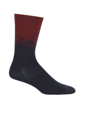 Mens Merino Lifestyle Fine Gauge Crew Socks Mountain Sky Lightweight and soft for everyday comfort, the Lifestyle Fine Gauge Crew Mountain Sky socks are made with luxurious, fine-gauge merino wool, with reinforced heels and toes.