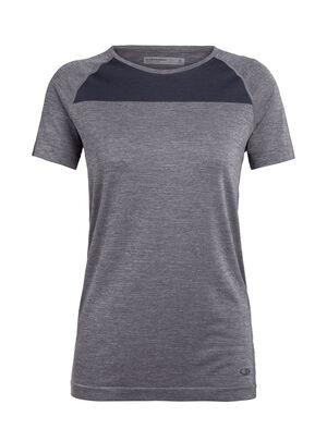 Dames Cool-Lite™ Merino Motion Seamless Short Sleeve Crewe T-Shirt  De Motion Seamless top met korte mouwen en ronde hals is een lichtgewicht en technische, merinowollen base layer trainingsshirt voor dames, met ongelooflijk ademende, elastische en vochtafdrijvende kwaliteiten.