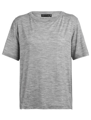 Womens Merino Tech Lite Laidback Short Sleeve Crewe T-Shirt A relaxed-fit tee ideal for everyday living, the Tech Lite Laid-Back Short Sleeve Crewe features our soft and durable merino jersey corespun fabric.