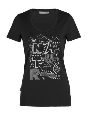 Tech Lite T-shirt Nature met korte mouwen en lage ronde hals van merinowol