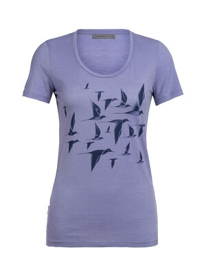 Womens Tech Lite Short Sleeve Scoop Poaka A feminine take on our classic Tech Lite T-shirt in soft and breathable merino. Artist Andrea Minini captures the freedom and movement of the New Zealand pied stilt, or 'Poaka'.
