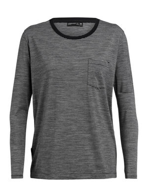 Womens 旅 TABI Luxe Lite Long Sleeve Pocket Crewe Stripe A relaxed-fit women's merino wool T-shirt for travel and everyday style, the Luxe Lite laidback Long Sleeve Pocket Crewe Stripe is part of our 旅 TABI collection, a collaboration with Japanese apparel house GOLDWIN.