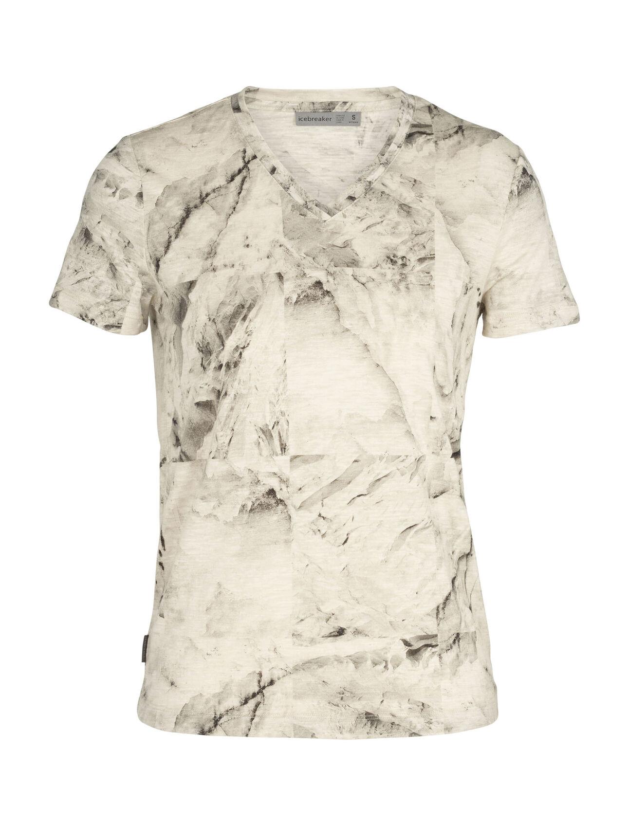 Merino Dowlas Short Sleeve V Neck T-Shirt IB Glacier Squares