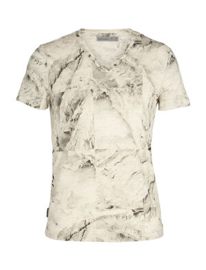 Dowlas T-shirt IB Glacier Squares met korte mouwen en V-hals van merinowol
