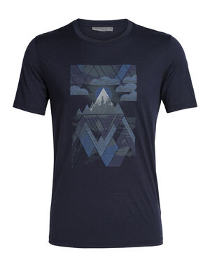 Mens Tech Lite  Short Sleeve Crewe Sunset Geo Our most versatile men's merino wool T-shirt, the Tech Lite Short Sleeve Crewe Sunset Geo is naturally soft, breathable and odor-resistant for comfort on your adventures.