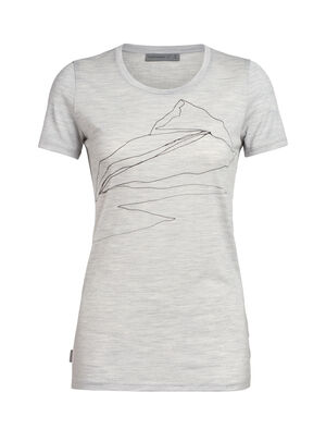 Womens Tech Lite Short Sleeve Low Crewe Sunrise Summit A lightweight base layer or go-to everyday top in soft and comfortable merino. Artist William Carden-Horton captures a mountain vista in iconic sketch style.