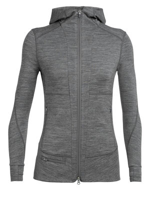 Womens Quantum II Long Sleeve Zip Hood A highly technical women's merino wool mid layer designed for cool-weather alpine pursuits, the Quantum II Long Sleeve Hood is ready for adventure.