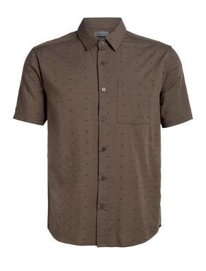 Mens Cool-Lite™ Compass Short Sleeve Shirt A lightweight woven men's merino wool shirt for travel or daily life, the Compass Flannel Short Sleeve Shirt combines classic style with modern natural fabrics.