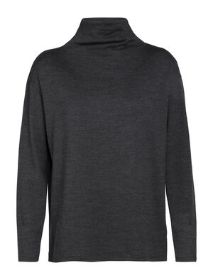 Womens Merino Deice Long Sleeve Turtleneck Sweater  A modern top with a loose mock-neck design and our 100% merino jersey fabric, the Deice Long Sleeve Turtleneck is versatile, lightweight, and incredibly comfortable.