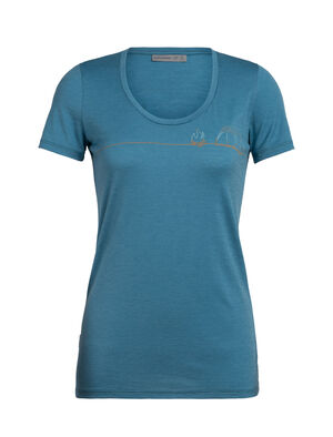 Womens Tech Lite Short Sleeve Scoop Single Line Camp A feminine take on our classic Tech Lite T-shirt in soft and breathable merino. Artist Zachary Snyder captures the joy of camping and the outdoors in a single-line drawing.