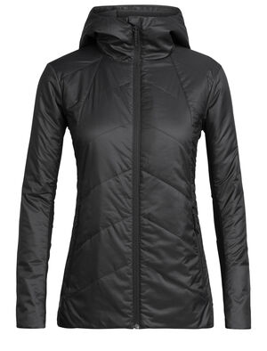 Womens MerinoLoft™ Helix Hooded Jacket An insulated women's jacket made with sustainable merino wool and recycled materials, the Helix Hooded Jacket is a warm winter mid layer for everyday versatility made with our innovative 70gm MerinoLOFT™ insulation and 100% recycled polyester face fabric that sheds light precipitation.