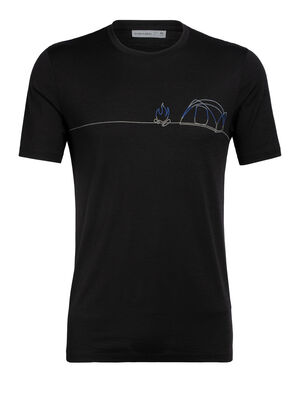 Mens Tech Lite Short Sleeve Crewe Single Line Camp Our most versatile tech tee, in breathable, odour-resistant merino wool. Artist Zachary Snyder captures the joy of camping and the outdoors in a single-line drawing.