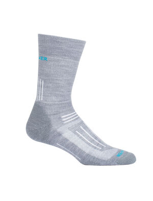 Womens Hike Light Crew Durable, lightly cushioned crew-length women's merino wool socks that are stretchy and odor-resistant, the Hike Light Crew socks provide cushion and ample breathability for warm-weather day hikes and backpacking trips.