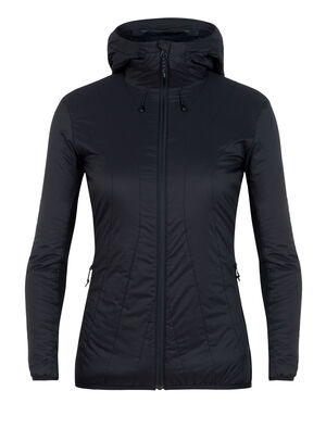Womens MerinoLOFT™ Hyperia Lite Hybrid Hooded Jacket A technical insulating women's jacket made with our 100gm MerinoLOFT™ insulation, the Hyperia Lite Hybrid Hooded Jacket is an eco-friendly puffy layer for climbing, skiing and other technical alpine adventures. Its wind and water resistant and compressible into its internal pocket.