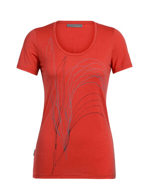 Womens Tech Lite Short Sleeve Scoop Leaf A feminine take on our classic Tech Lite T-shirt in soft and breathable merino. Artist William Carden-Horton captures a sense of wonder at nature in his sketch of long summer grasses.