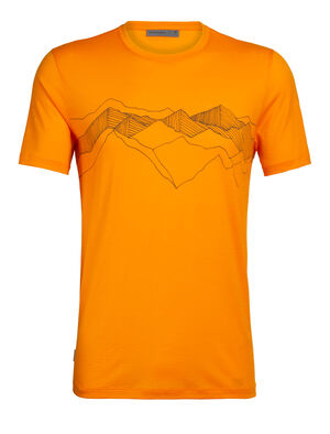 Mens Tech Lite Short Sleeve Crewe Peak Patterns Our most versatile tech tee, in breathable, odour-resistant merino wool. Artist William Carden-Hortons drawing captures the beauty of overlapping mountain peaks and the feeling of being connected to nature.