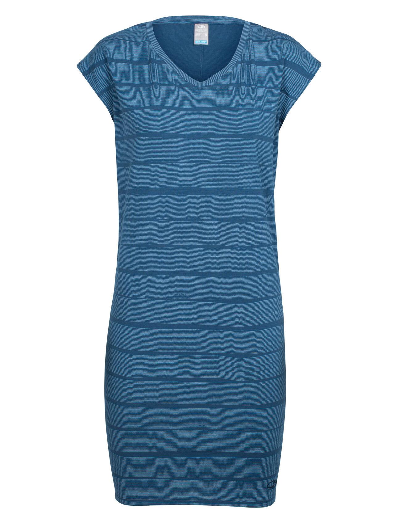 Medium Icebreaker Merino Womens Yanni Combed Lines Dress Combed Lines//Prussian Blue//Snow