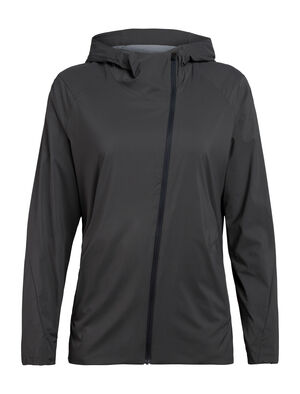 Womens Merino Tropos Hooded Windbreaker Jacket A lightweight women's windshell made with recycled content and a moisture-wicking merino wool corespun lining, the Tropos Hooded Windbreaker shed light elements while keeping you comfortable.
