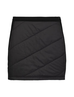 Womens MerinoLOFT™ Helix Mini Skirt Hybrid construction with zoned MerinoLOFT™ panels at front and back for core warmth and protection, LYCRA® content for stretch and mobility, Covered Icebreaker branded elastic waistband, Front side open-end zipper with storm flap for ease of entry, Strategically placed terry for range of motion, Outseam: 39.1cm/15½, size M, Icebreaker pip logo