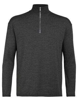 Mens Merino Deice Long Sleeve Half Zip Top A classic midweight sweatshirt made with 100% merino wool jersey, the Deice Long Sleeve Half Zip has essential style and comfort.