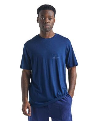 Nature Dye Sisao T-shirt Indigo met korte mouwen en ronde hals van merinowol