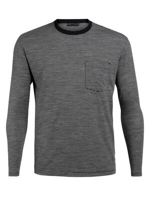 Mens 旅 TABI Luxe Lite Long Sleeve Pocket Crewe Stripe A relaxed-fit men's merino wool T-shirt for travel and everyday style, the Luxe Lite laidback Long Sleeve Pocket Crewe Stripe is part of our 旅 TABI collection, a collaboration with Japanese apparel house GOLDWIN.