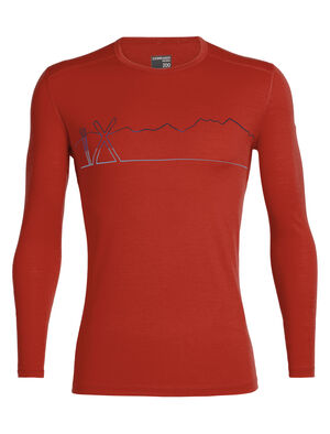 Mens Merino 200 Oasis Long Sleeve Crewe Single Line Ski The 200gm Oasis Long Sleeve Crewe Single Line Ski is our everyday Bodyfit™ top in 100% merino wool, perfect as a base layer for your cool-weather adventures.