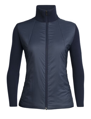 Womens Lumista Hybrid Sweater Jacket Combining the benefits of an insulated puffy jacket and your favorite wool sweater, the Lumista Hybrid Sweater Jacket harnesses the power of heavy-gauge wool sweater knit combined with zoned MerinoLOFT™ panels that add warmth and wind protection