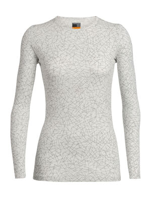 Womens Merino 200 Oasis Long Sleeve Crewe Sky Paths For casual comfort and technical performance, the 200 Oasis Long Sleeve Crewe Sky Paths is a 100% merino wool base layer with natural breathability and odor-resistance.