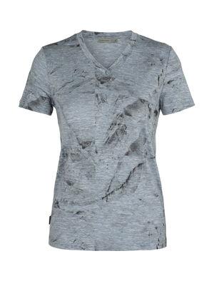 T-shirt manches courtes col en V mérinos Dowlas IB Glacier Squares