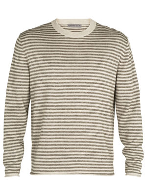 Mens Merino Flaxen Long Sleeve Crewe Sweater Combining light and airy linen with naturally soft and odor-resistant merino wool, the Flaxen Long Sleeve Crewe Sweater is a natural take on the classic sweater.