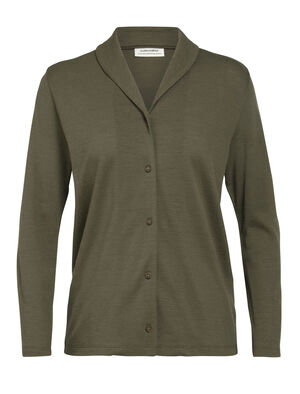Womens Merino Pique Long Sleeve Shirt A cardigan-style shirt with a shawl collar and lightweight 100% merino wool knit, Merino Pique Long Sleeve Shirt is full of everyday comfort.