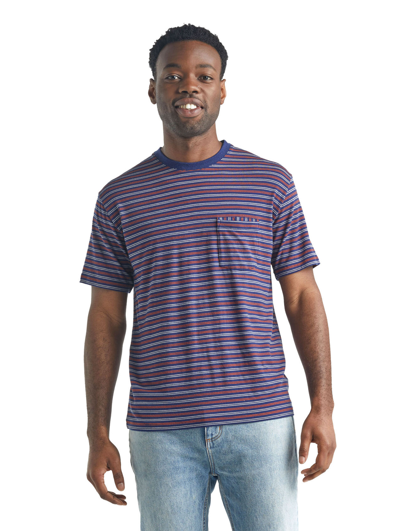 Merino 150 Short Sleeve Pocket Crewe Stripe T-Shirt