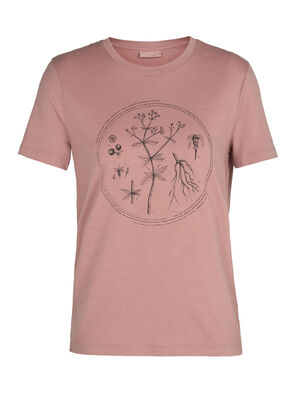 Womens Nature Dye Merino Sisao Short Sleeve Crewe T-Shirt Madder Our classic regular-fit T-shirt made with all-natural, 100% merino wool, the Sisao Short Sleeve Crewe Madder is dyed using natural plant pigments. The tee's original artwork highlights the plant that provides its rich hue.