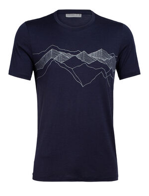 Mens Merino Tech Lite Short Sleeve Crewe T-Shirt Peak Patterns Our most versatile tech tee, in breathable, odour-resistant merino wool. Artist William Carden-Hortons drawing captures the beauty of overlapping mountain peaks and the feeling of being connected to nature.