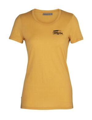 Tech Lite T-shirt Caravan Life met korte mouwen en lage ronde hals van merinowol