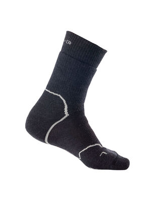 Mens Merino Hike+ Heavy Crew Socks Durable, fully cushioned crew-length men's merino wool socks that are stretchy, breathable and odor-resistant, the Hike+ Heavy Crew socks feature an anatomical sculpted design for cold day hikes and backpacking trips.